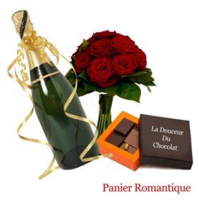 panier romantique fleurs chocolats