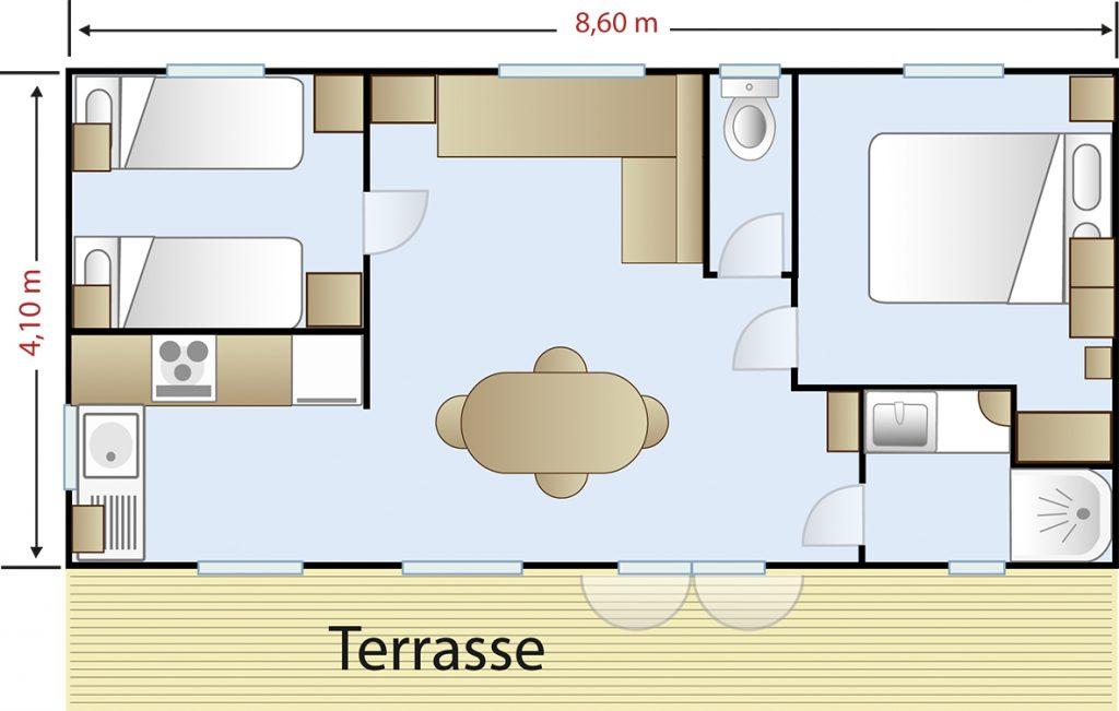 Plan Mobil-home 2 chambres Premium
