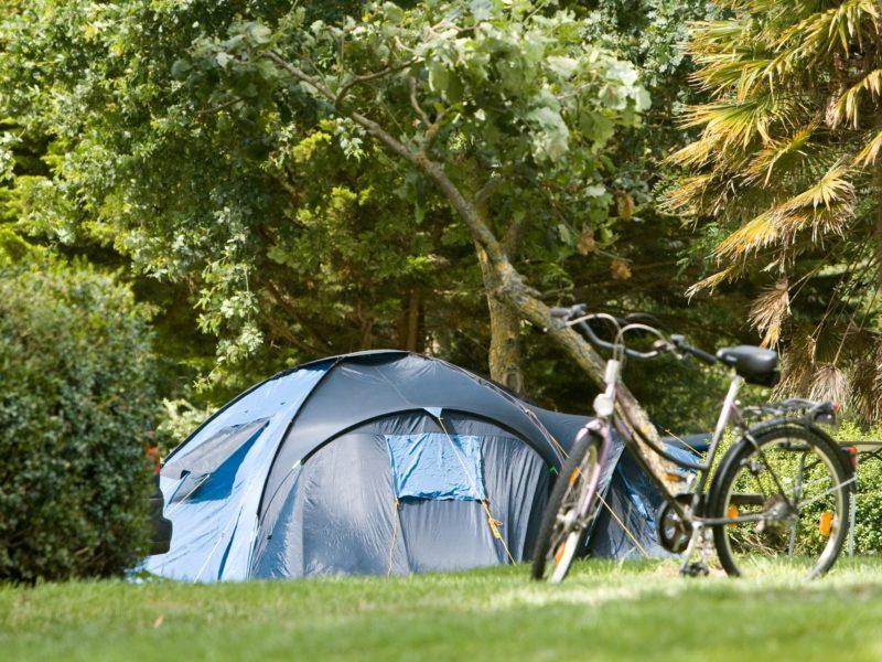 Standaard campingplaats voor tent en caravan in de kasteeltuin