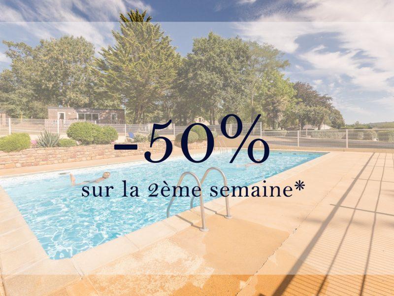 Comment profiter de la promo de 50% sur la deuxième semaine réservée en location ou en camping au camping Lez Eaux ?