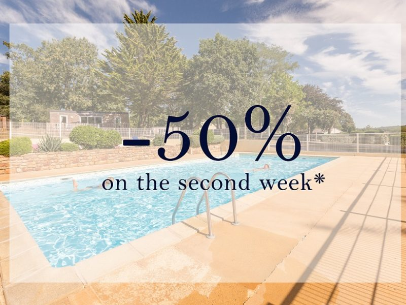 How to get the discount off 50% on the second week booked in a mobile-home or in camping pitches at Castels Château de Lez-Eaux campsite?