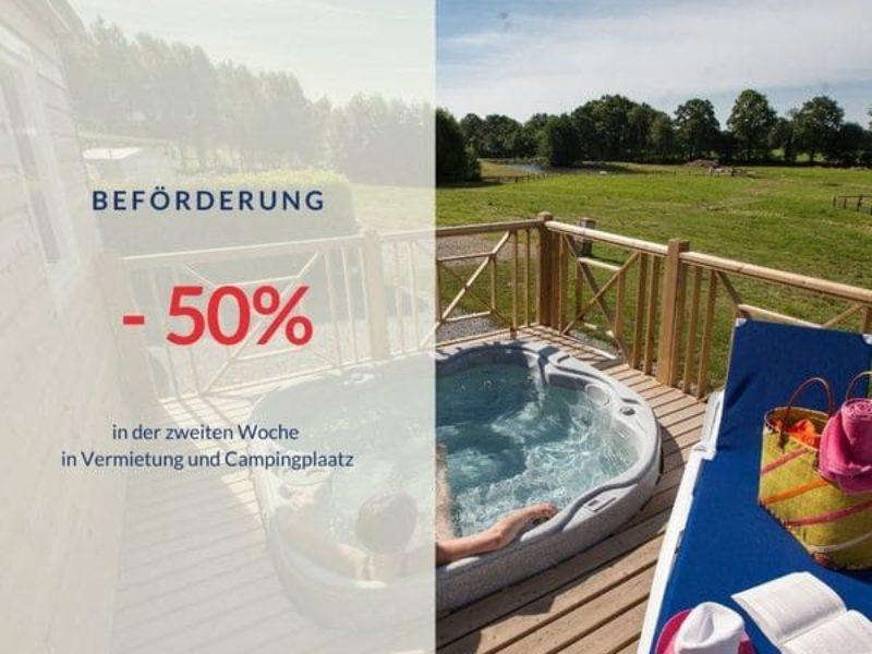 Wie können Sie in der zweiten Woche von einem Rabatt von 50% für eine Ferienhausvermietung oder für einen Campingplatz auf Camping Lez Eaux profitieren?