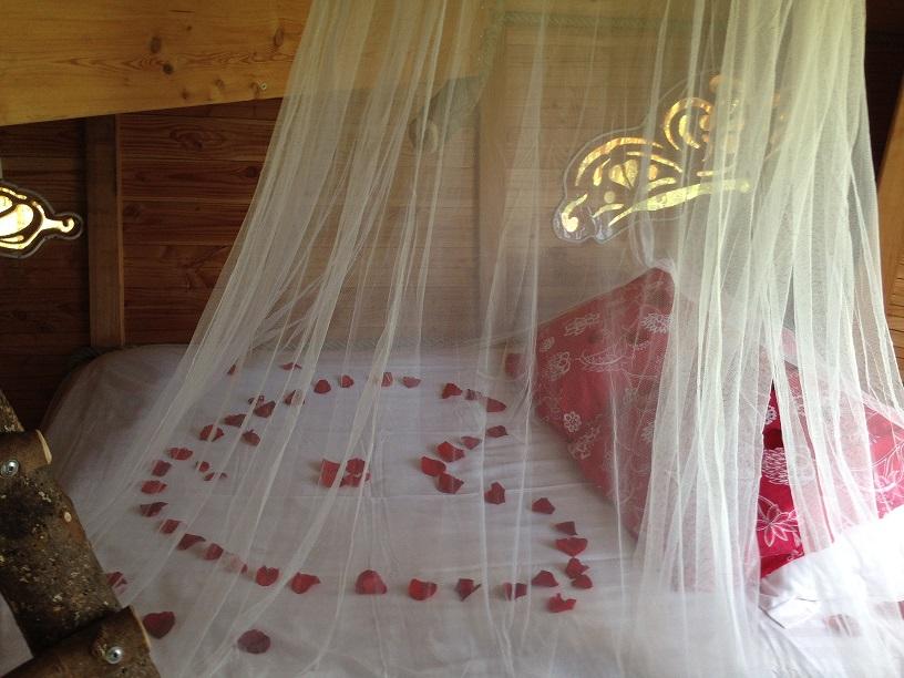 jeté de rose sur lit forme coeur