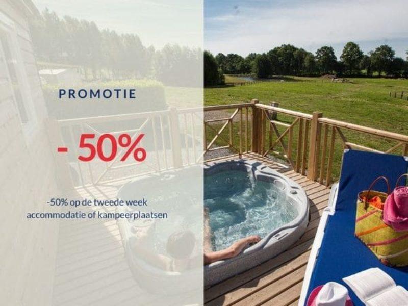 Hoe kunt U profiteren van een korting van 50 % op de tweede week voor huur vakantiewoning of voor een campingplaats op Camping Lez Eaux ?